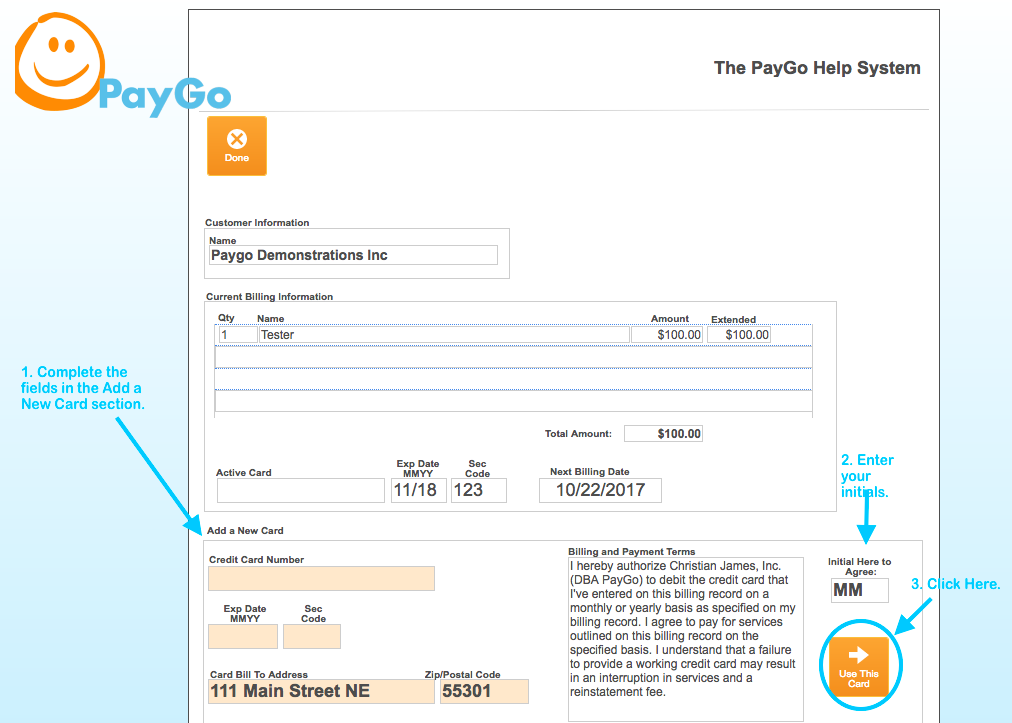 The PayGo Account and Billing Screen - PayGo