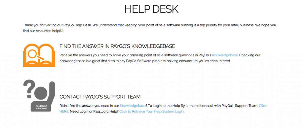 PayGo's Help Desk Page