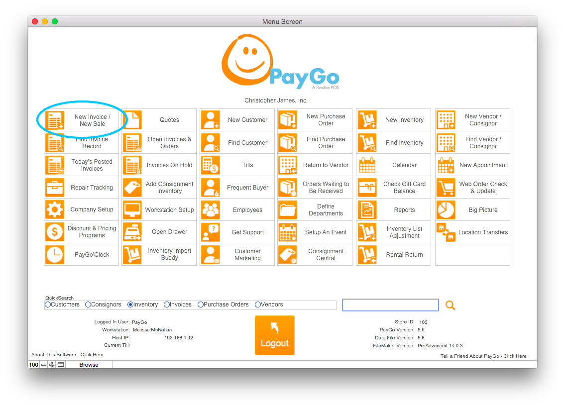 PayGo Menu Screen New Invoice Circled
