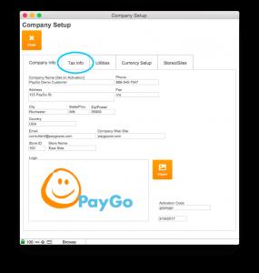 Company Setup Company Info Tax Info Circled
