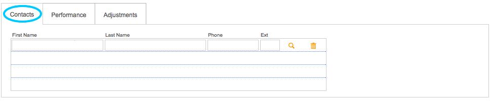PayGo POS Vendor:Consignor:Manufacturer Entry Screen - Bottom Tabs - Contacts