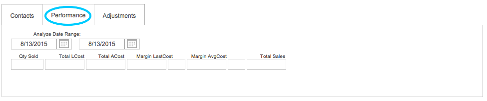 PayGo POS Vendor:Consignor:Manufacturer Entry Screen Bottom Tabs - Performance