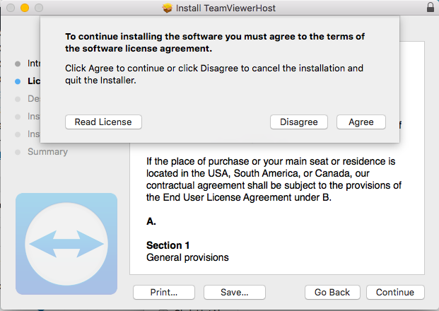 TeamViewer Installation Terms of Agreement