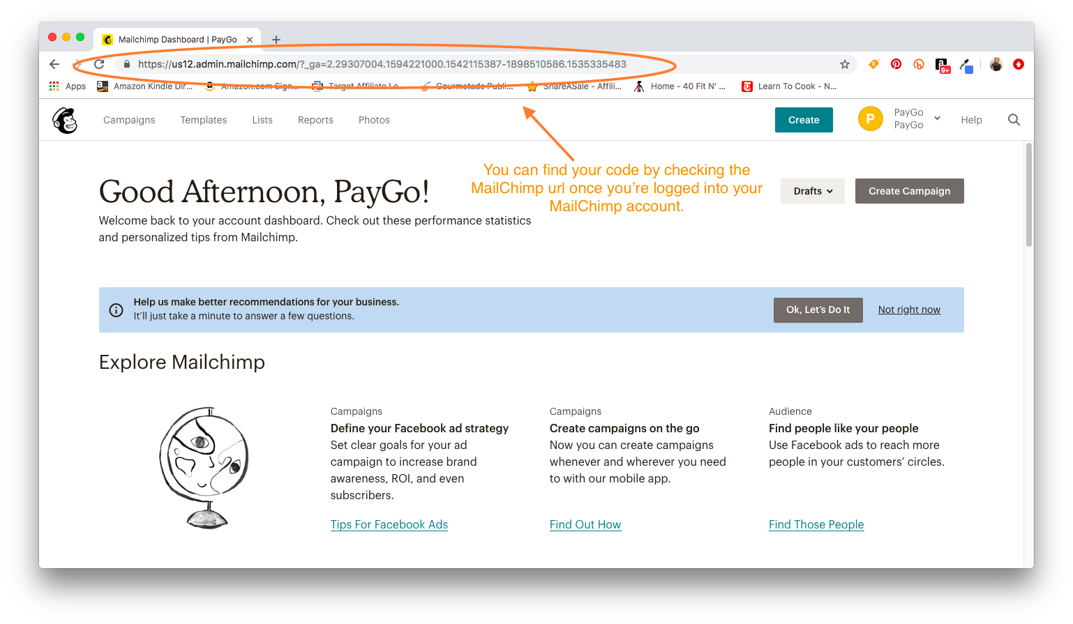 Check MailChimp URL to find your code for PayGo MC