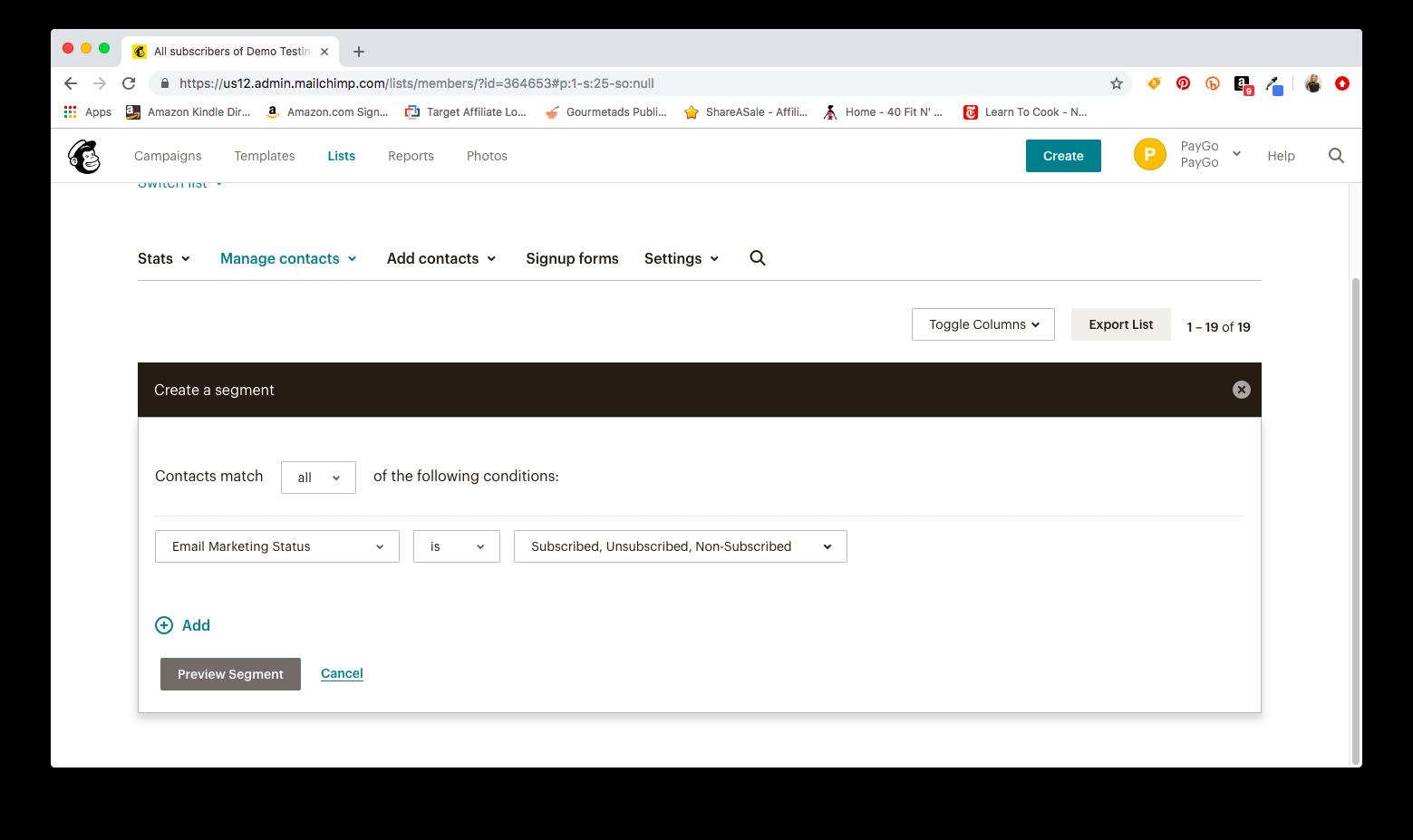 Mailchimp Create a Segment Screen