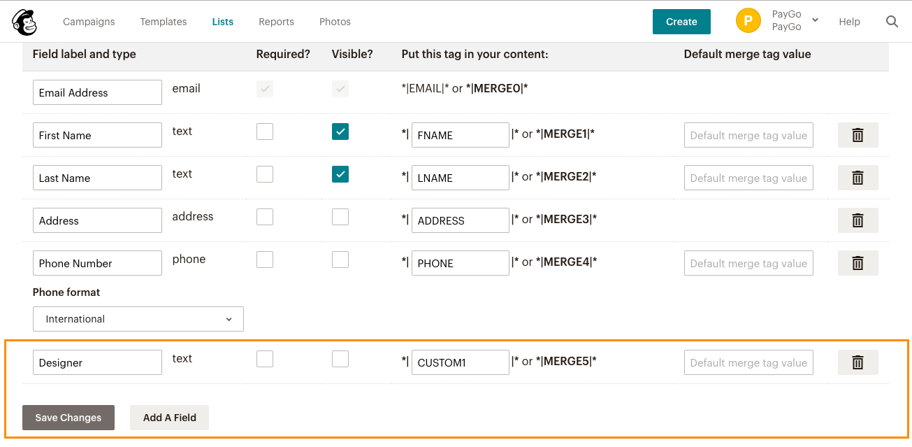 Mailchimp adding Custom1 field