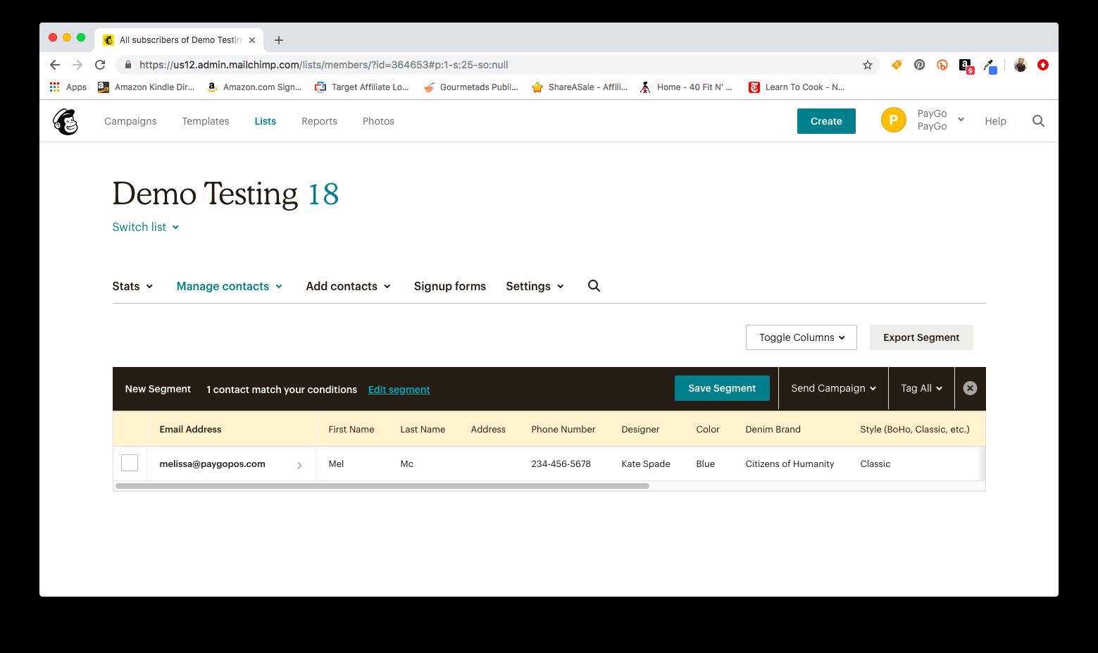 Mailchimp creating a segment using PayGo marketing information