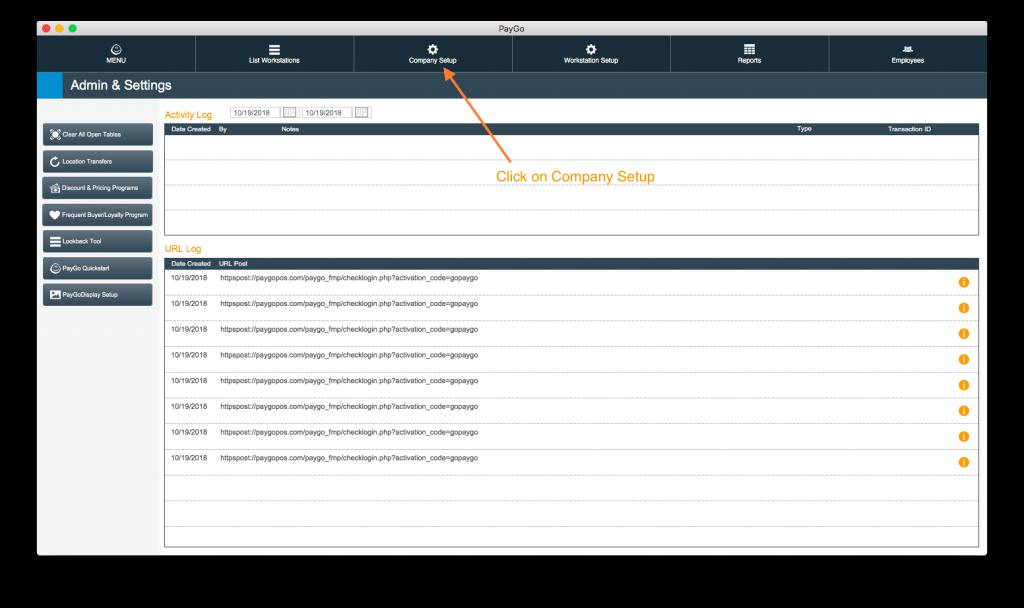 PayGo 6 POS Admin & Settings Screen Company Setup