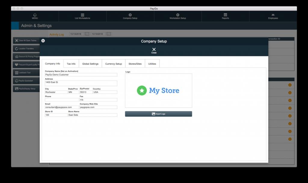 PayGo 6 POS Company Setup Screen