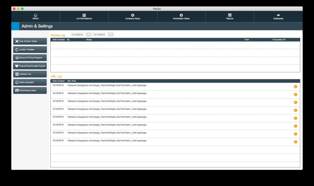 PayGo 6 POS Software Admin Screen
