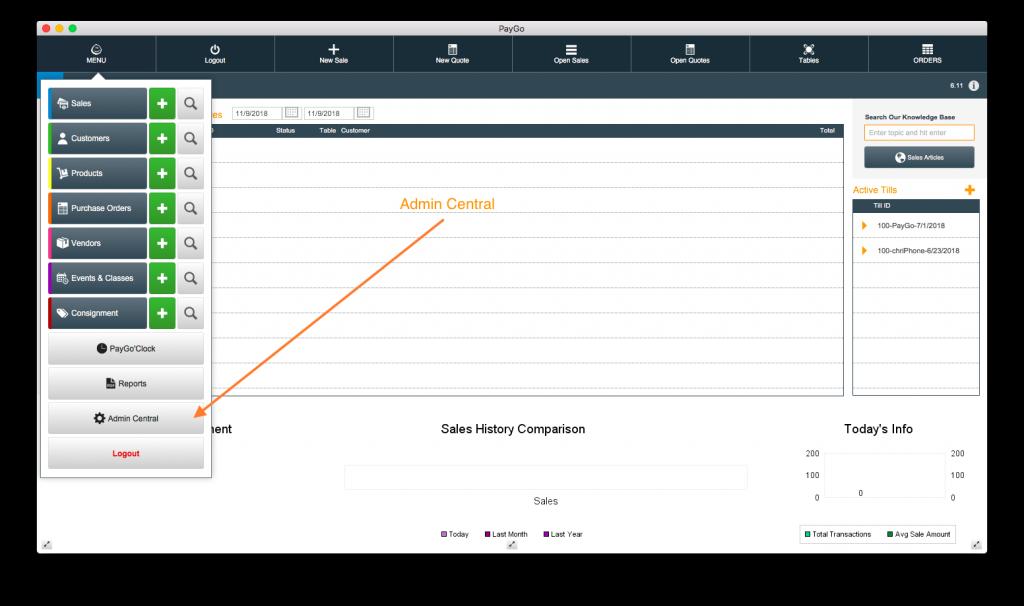 PayGo 6 POS Software Menu Dropdown Admin Central