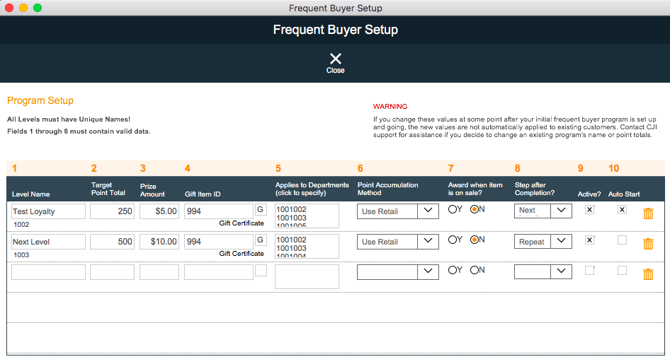 PayGo 6 POS Frequent Buyer Setup Screen for Loyalty Program